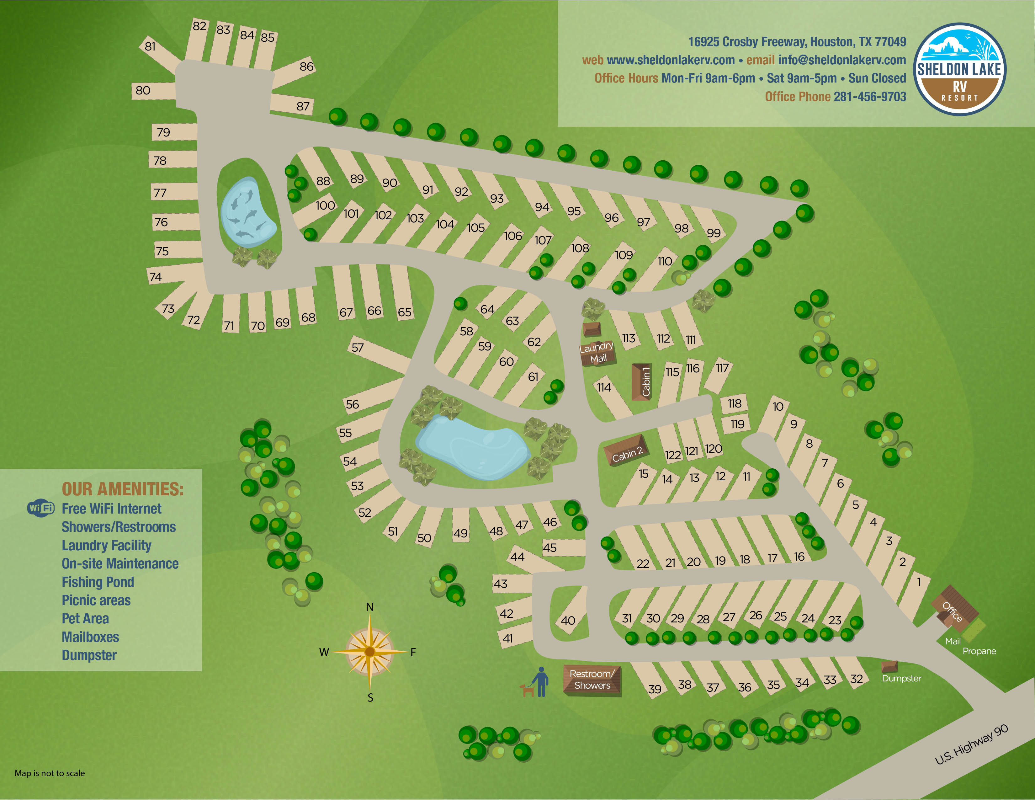 Sheldon Lake RV Resort Map